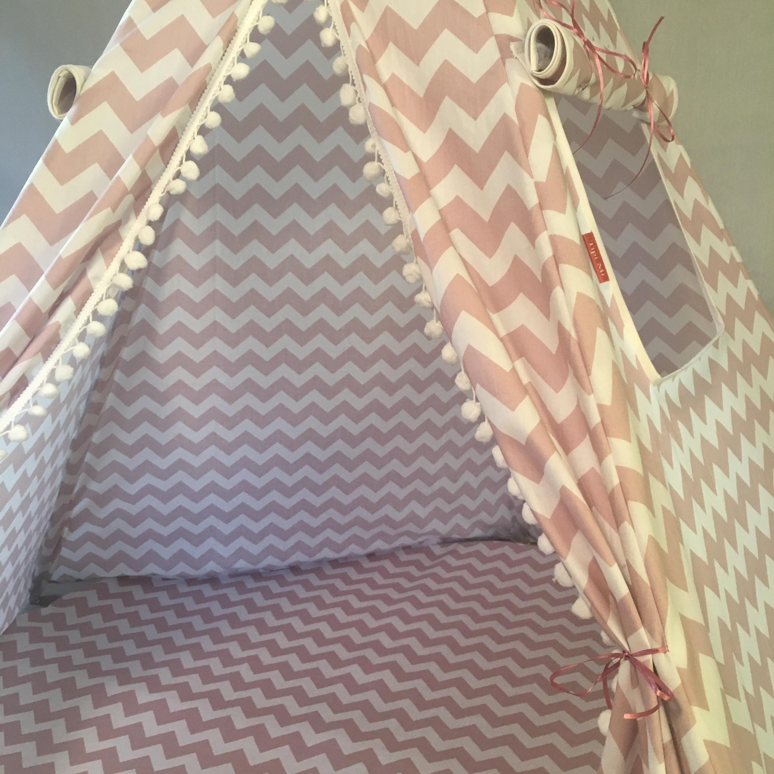 Bedwelming Tipi tent zigzag oud roze - Tipi Mi #CE97